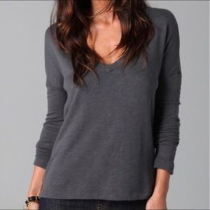 James Perse V-Neck Terry Pullover Top Long Sleeve
